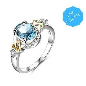 2/$15 Sz 6 Blue Gemstone Two Tone Heart Ring NEW